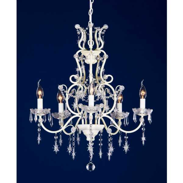 Vintage cream crack 5 arm chandelier with star shaped drops aloadofball Image collections
