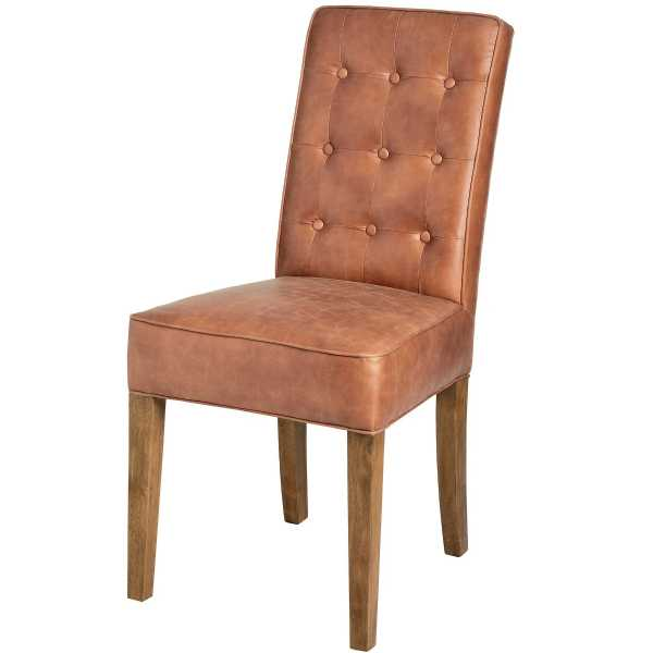 Tan Faux Leather Upholstered Buttoned Back Dining Chair On Wooden Legs