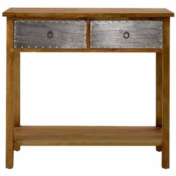 Distressed shoreditch 2 drawer fir wood legs console table with shelf watchthetrailerfo