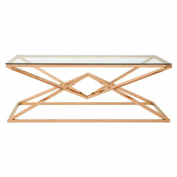 Fifty Five South Allure Corseted Champagne Rose Gold Coffee Table