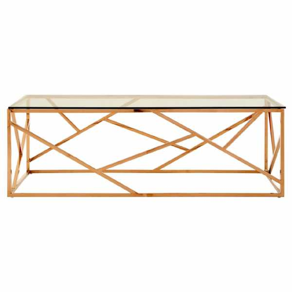07be5fe2207f ASSEMBLY REQUIRED. Fifty Five South Allure Clear Glass Rose Gold Coffee  Table