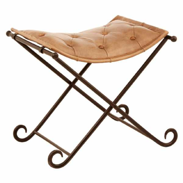 Fifty Five South Buffalo Light Brown Leather Iron Stool