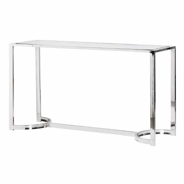 Contemporary Curved stainless Steel Frame Console Table with Glass Top