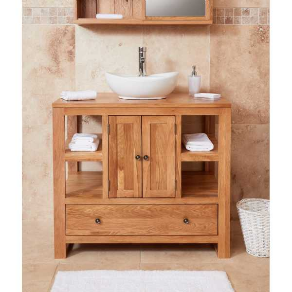 Bathroom Collection Solid Oak Two Door Single Sink Unit (Round)