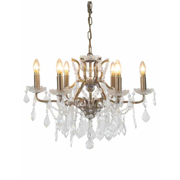 Contemporary 6 Branch Shallow Brushed Gold Crystal Glass Chandelier