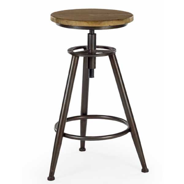 Set Of 3 Industrial Wood Metal Height Adjustable Kitchen Bar Stools
