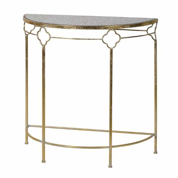 Gold Metal Demi Lune Half Moon Glass Marble Effect Console Hall Table