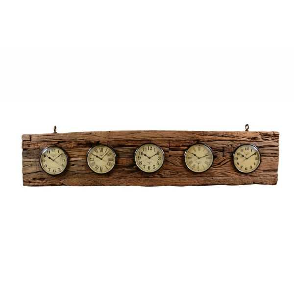 Contemporary Rectangular Wooden bark and Metal Round Dial Railway Sleeper World Time Clock185x17x41cm