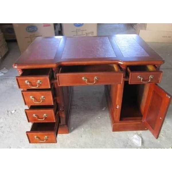 Beech Wood Partners Desk Small Twin Pedestal Home Office