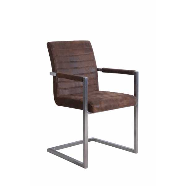 Brown Suedette Dining Chair Square Brushed Steel Frame