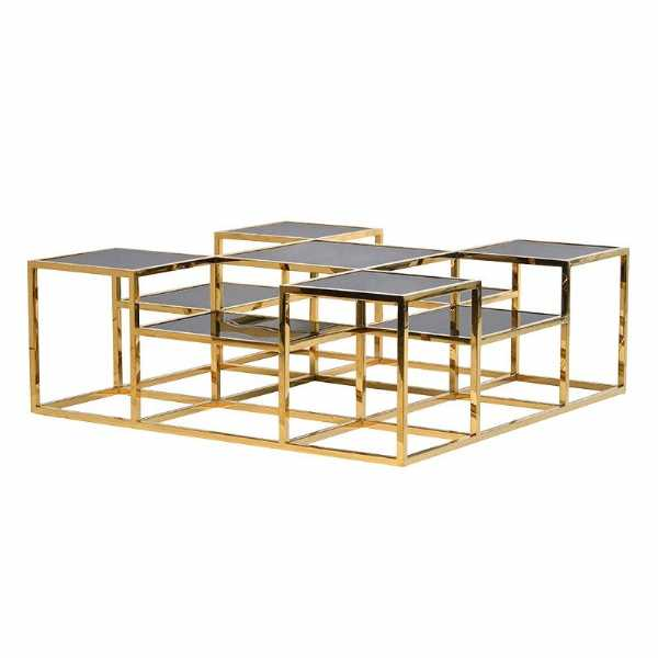 Gold Framed Multi Level Coffee Table with Black Glass Tops