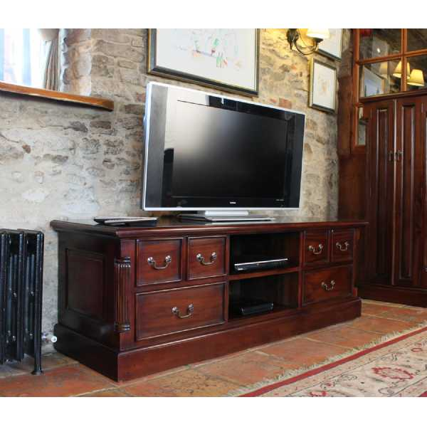 Mahogany Widescreen TV Cabinet Media Unit in Traditional Dark Wood Finish