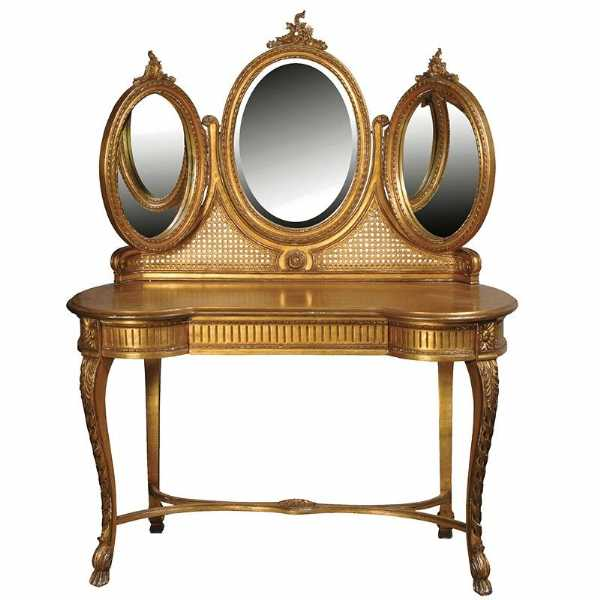 Versailles Gold Leaf Shabby Chic Gilt Dressing Table and Mirror
