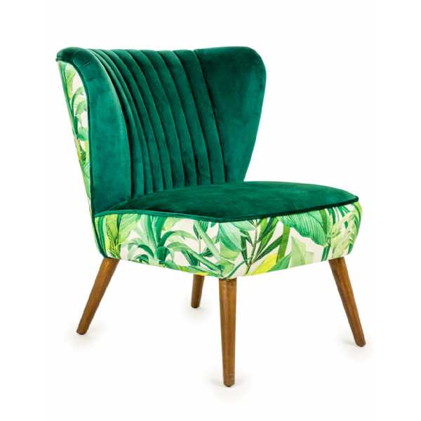 Tropical Green Leaves Velvet Style Winged Occasional Chair Wooden Legs