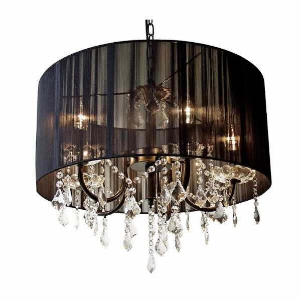 Round black pleated fabric shade cut glass chandelier ceiling light mozeypictures Images