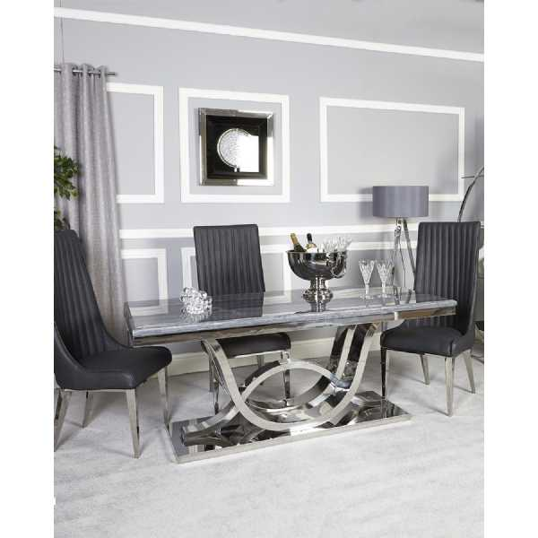 Contemporary Saturn Grey Marble Top Dining Table With Chrome Base - Grey marble top dining table