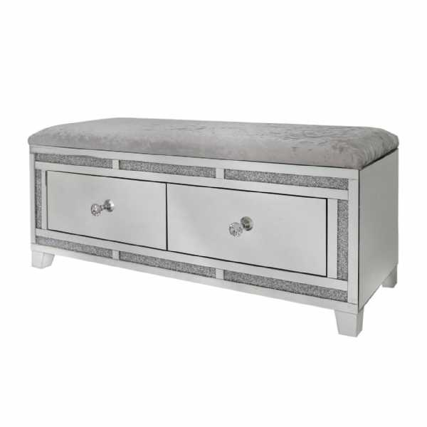 Crystal Diamond Mirrored Glass 2 Drawer Bench with Velvet Seat