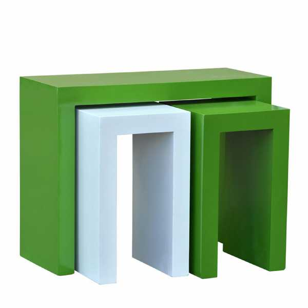 Green Gloss Table And 2 Stool Set