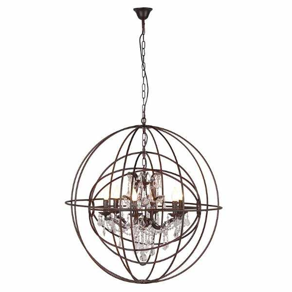 Metal sphere chandelier round ceiling light with glass crystals aloadofball Choice Image
