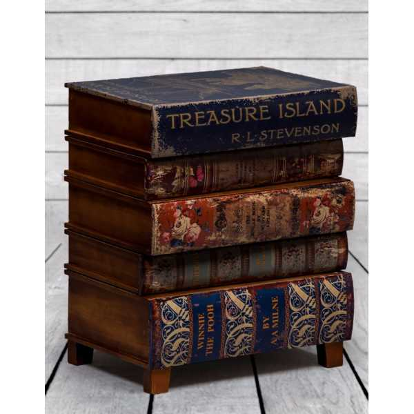 Island Antique Style Stacked Childrens Books Bedside Cabinet