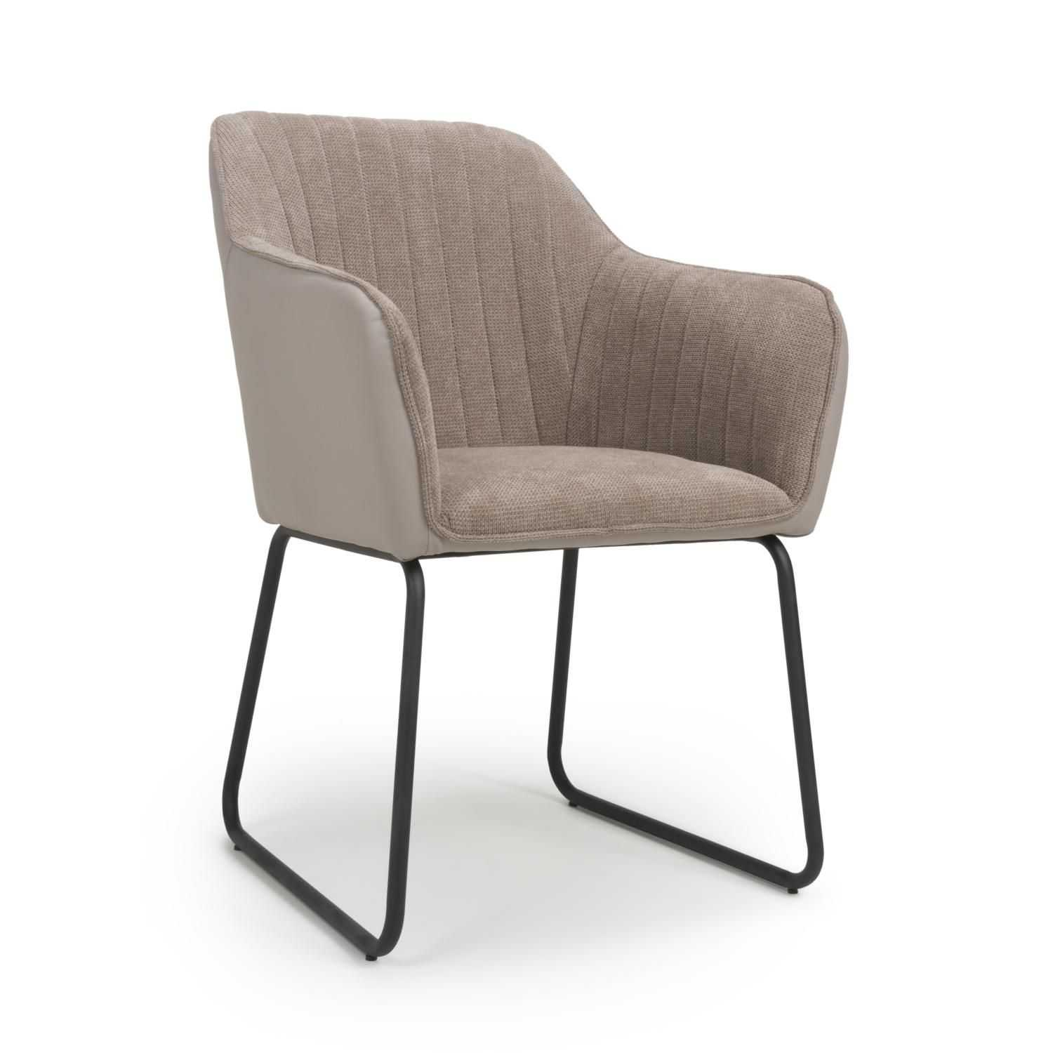 Celeste Chenille And Leather Effect Beige Dining Chair by Shankar