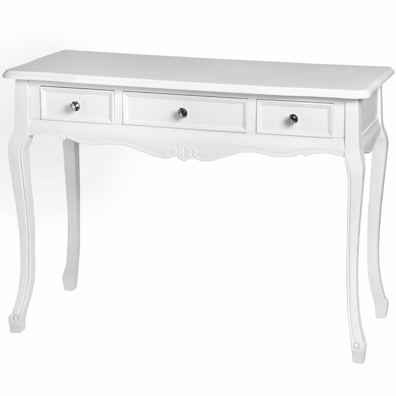 Florence French Style White Painted Wood 3 Drawer Dressing Table With Crystal Knobs