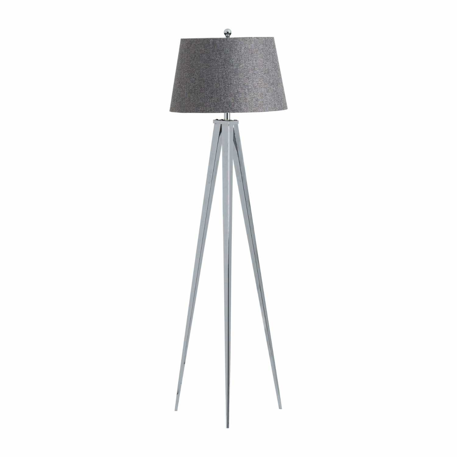 The Genoa Chrome Silver Finish Metal Tripod Floor Lamp