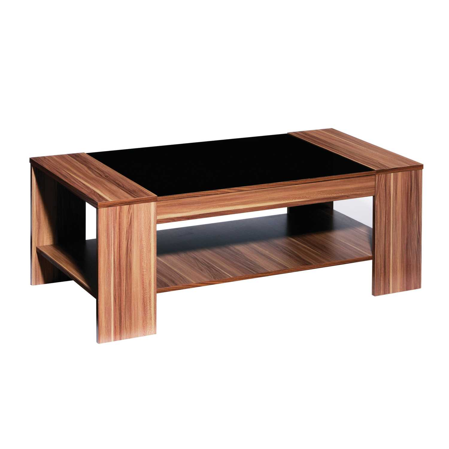 Fargo Walnut Veneer Coffee Table With Black High Gloss Detail