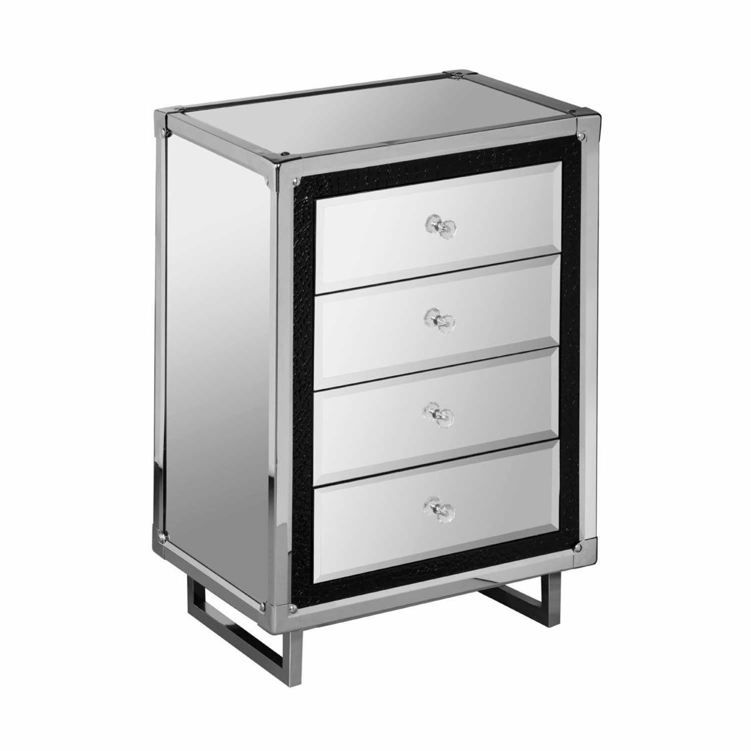 4 drawer mirrored glass bedside unit for Mirrored drawer unit
