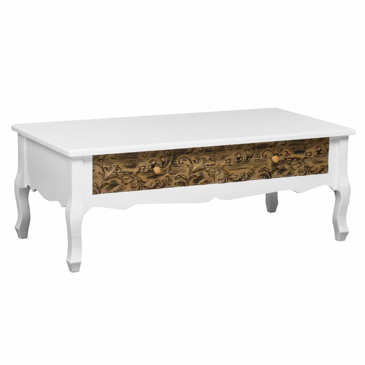 White painted bali coffee table with embossed drawer fronts geotapseo Image collections