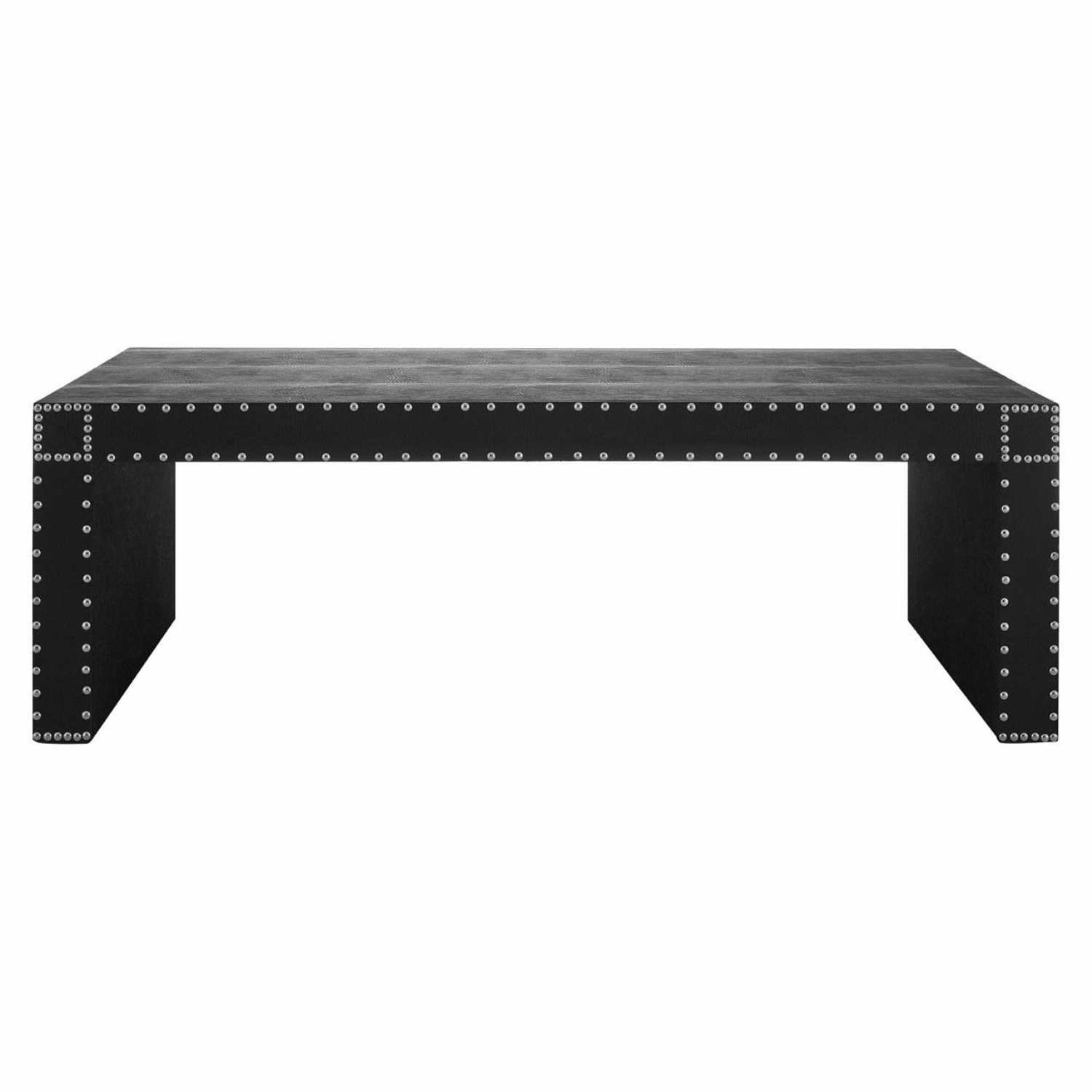 Modern sloane black bound leather effect coffee table with for Coffee table with studs