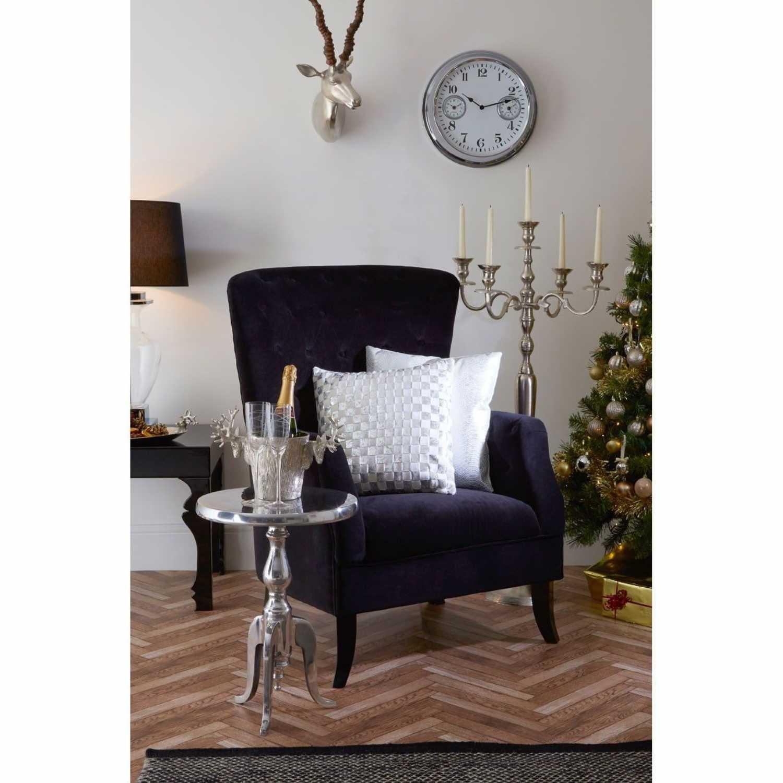 Modern Mayfair High Button Back Black Velvet Chair With