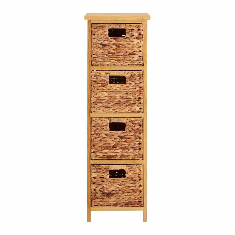sc 1 st  Woodpecker Interiors & Stacked Natural 4 Basket Drawer Water Hyacinth Storage Unit