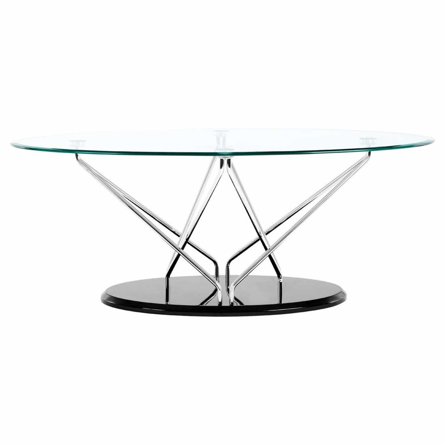 Glass Coffee Table Chrome Base: Halo Oval Coffee Table Tempered Glass Top Cross Chrome