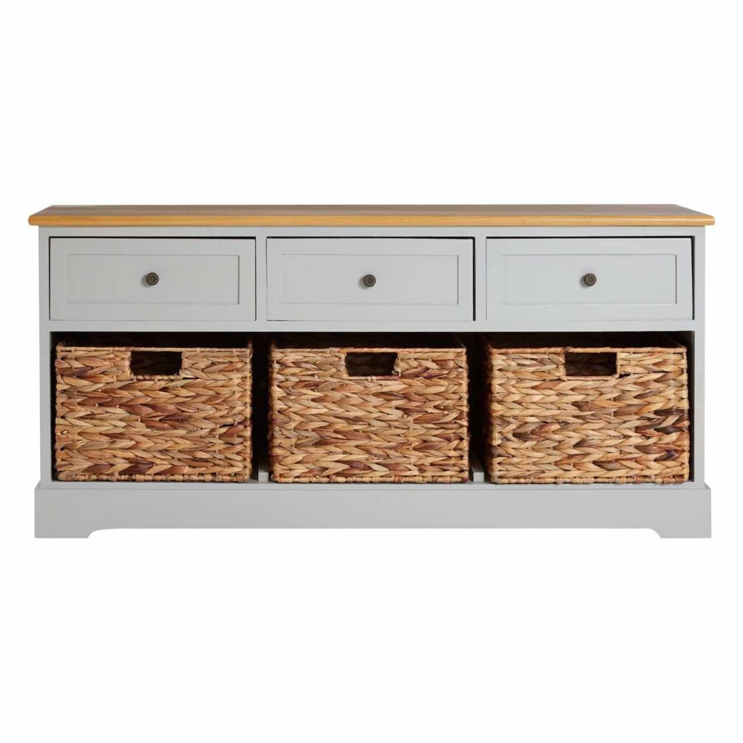 . modern vermont grey painted storage bench with  basket drawers
