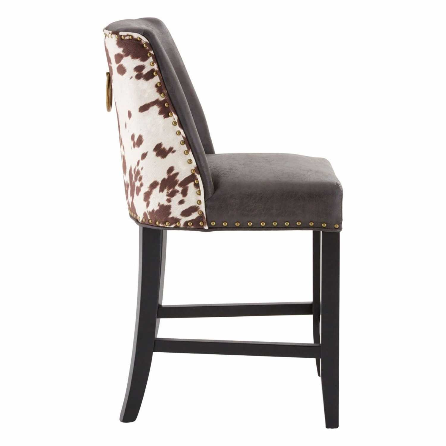 Rodeo Brown Leather Effect Cowhide Bar Stool With Ring Back