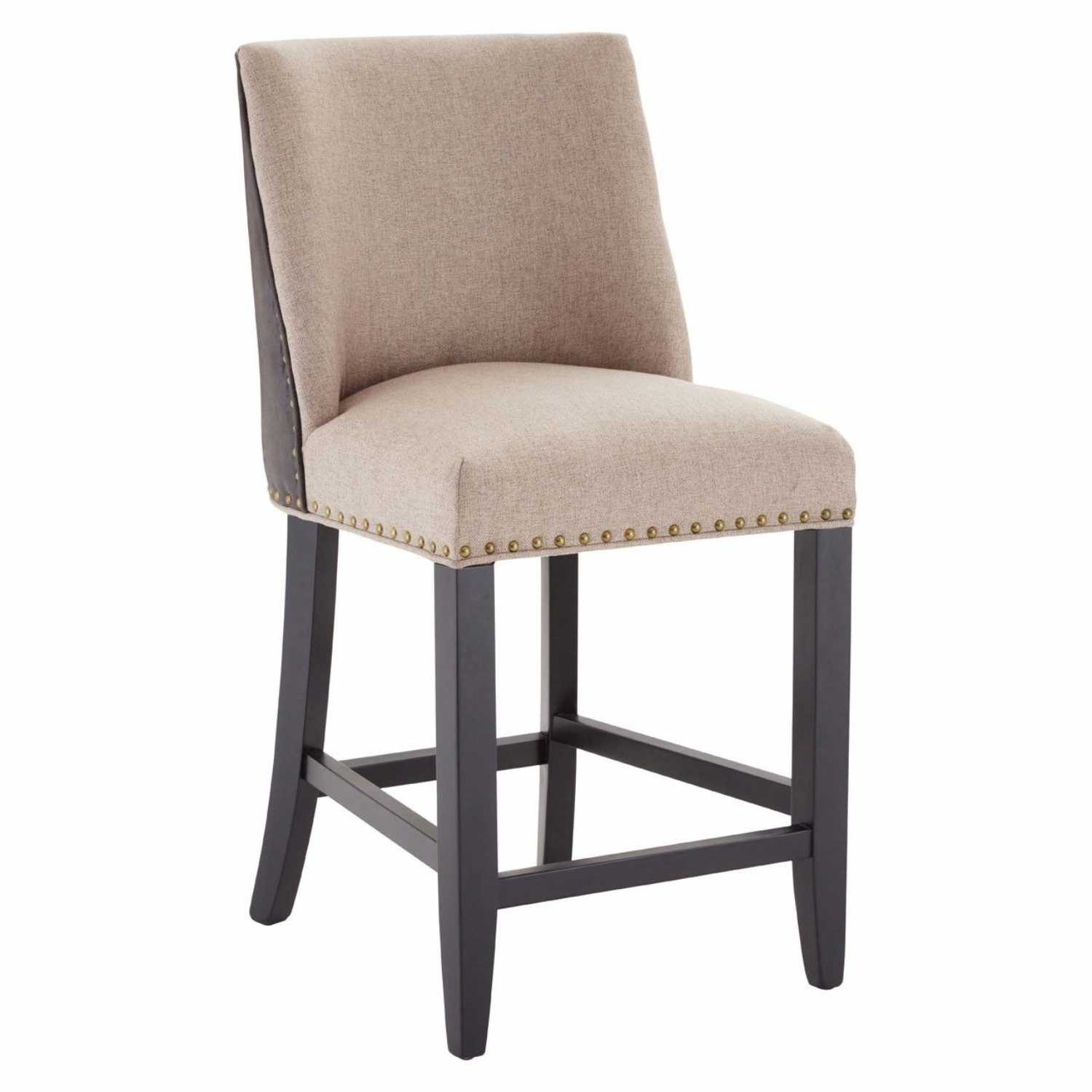Ring Back Rodeo Beige Fabric Bar Stool With Brown Leather