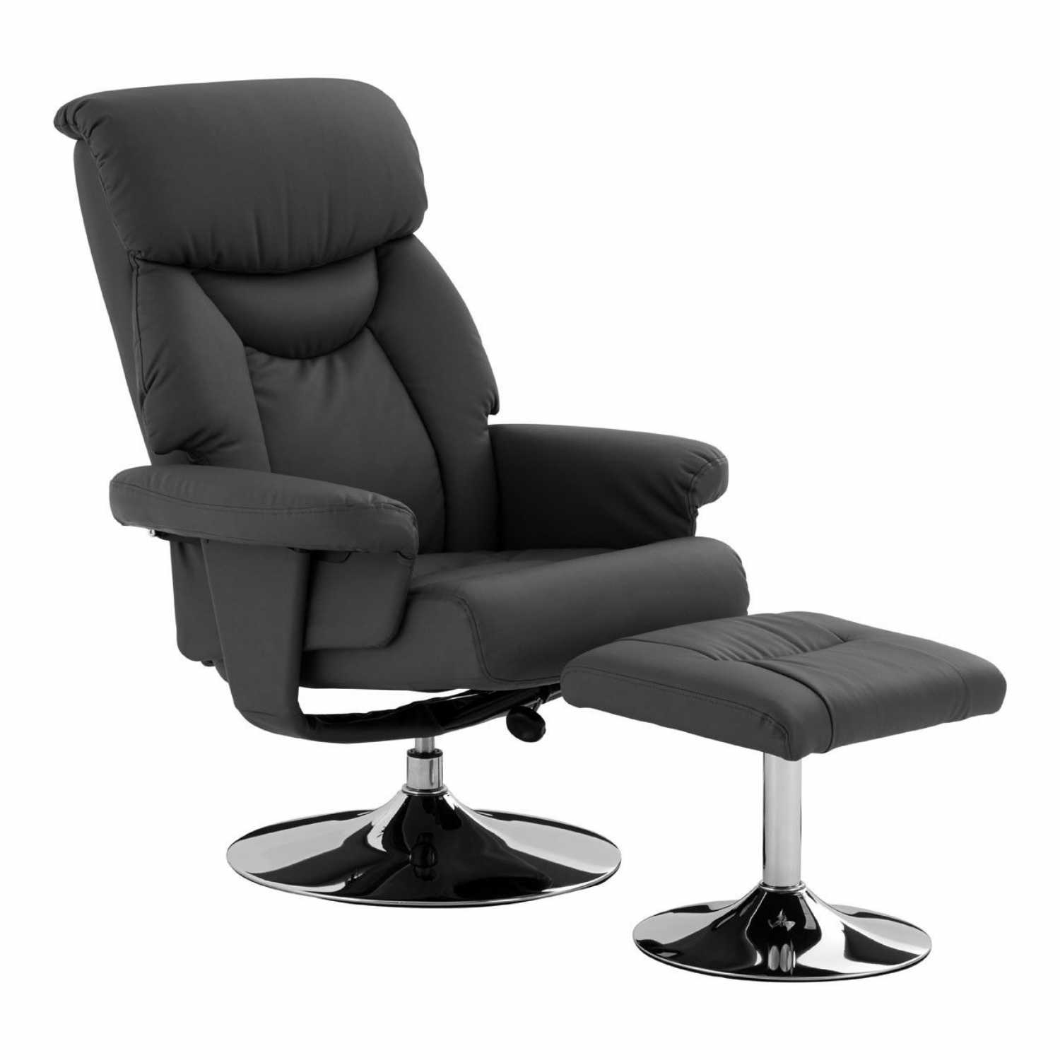 Grey Leather Effect Modern Chrome Base Recliner Chair With Footstool