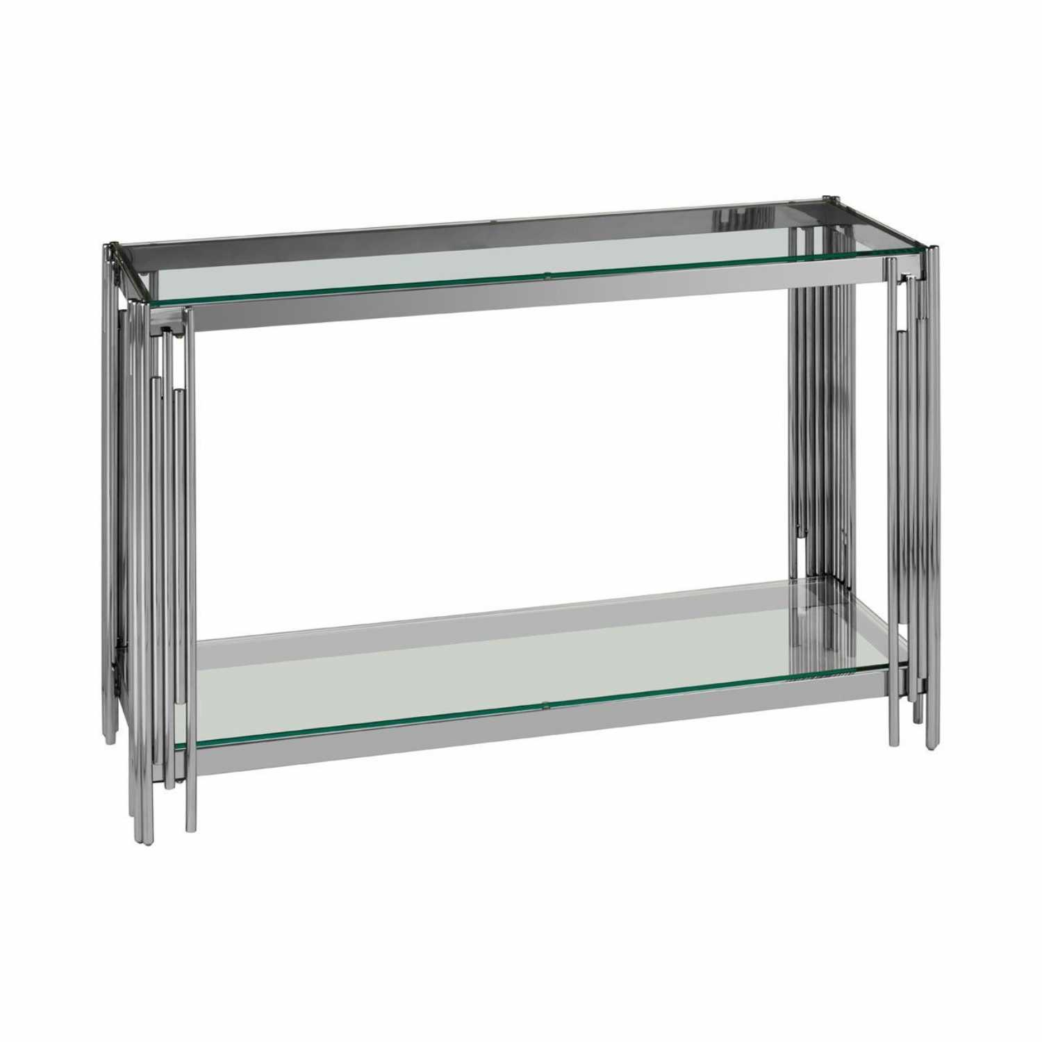 Art Deco Alvaro Large Silver Stainless Steel Console Table Glass Top
