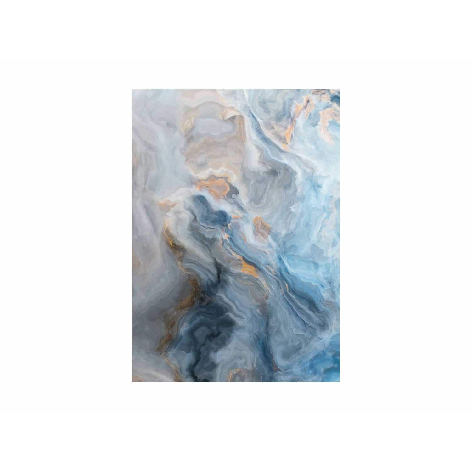 Blue And Gold Marble Effect Glass Wall Art 70x100cm