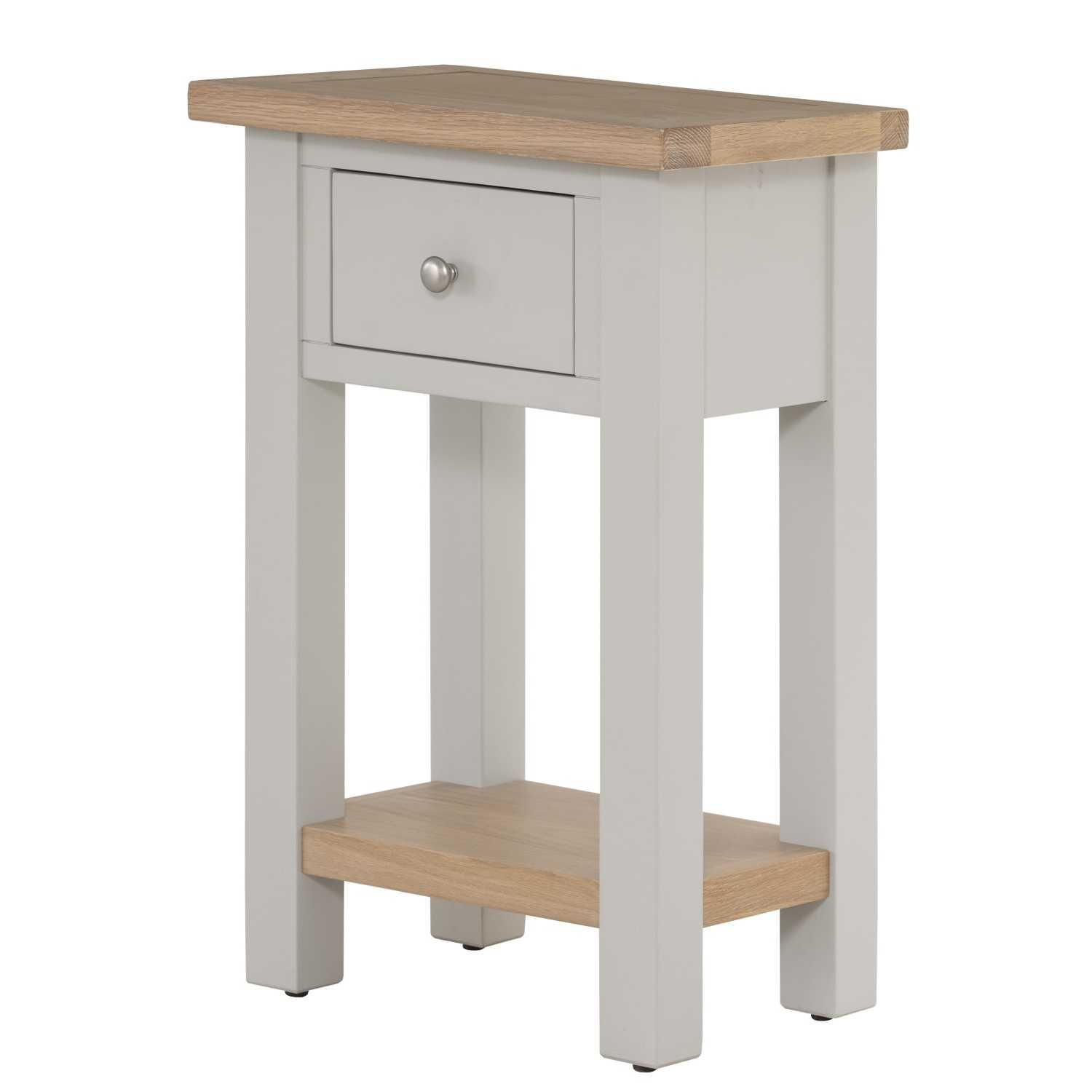 Vancouver Chalked Oak Light Grey Painted 1 Drawer Telephone Hall Table