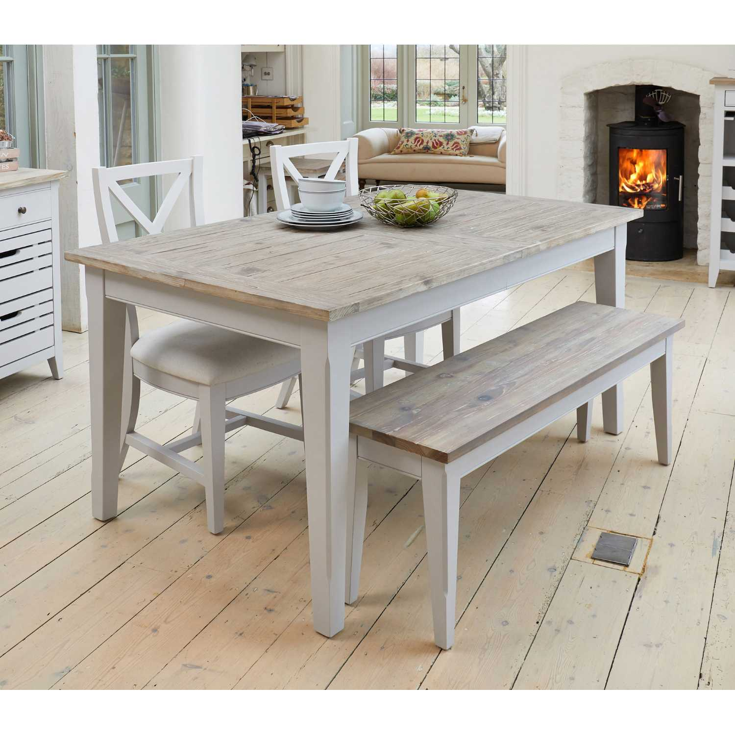 Grey Painted Extending Kitchen or Dining Table with Limed ...