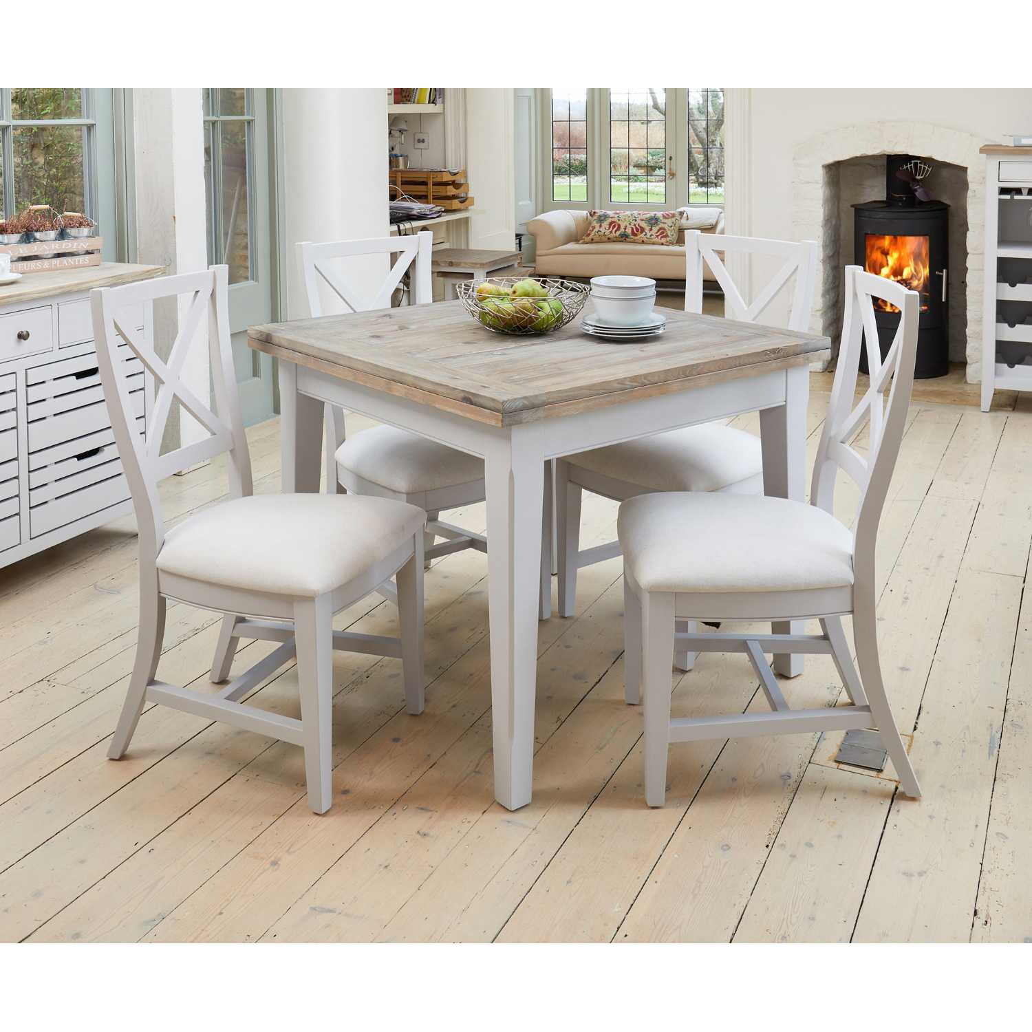 Table Carrée Cuisine: Grey Painted 95cm Square Extending Kitchen Dining Table