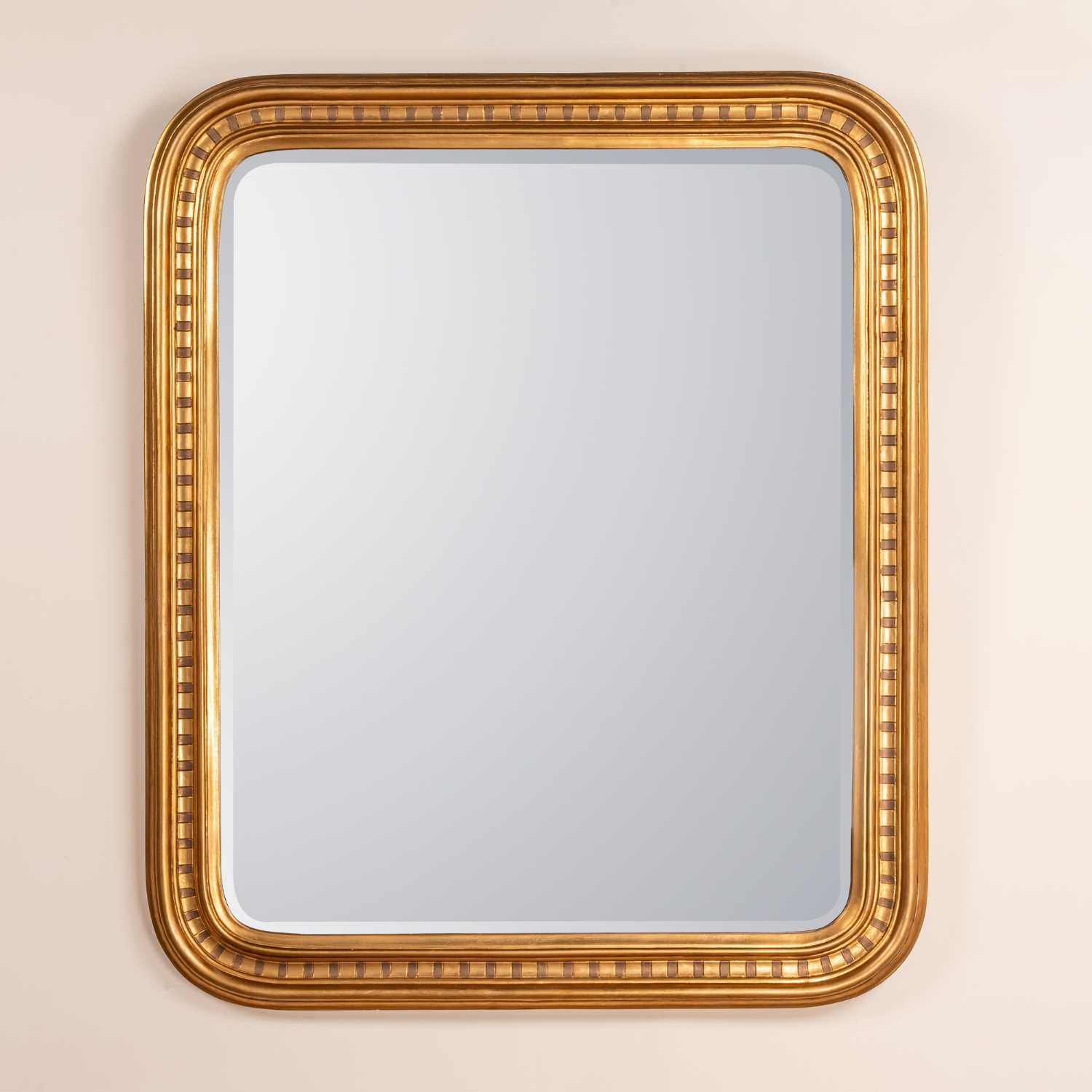 Louis Philippe Gold Etched Gilt Leaf Overmantel Bevelled Mirror
