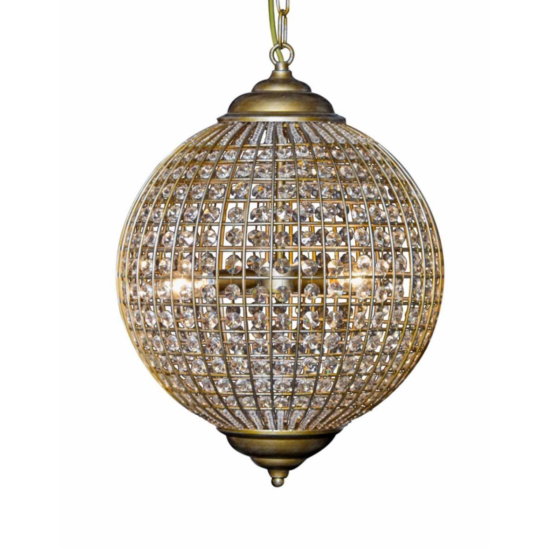 Modern Large Round Glass Droplet Gold Globe Chandelier