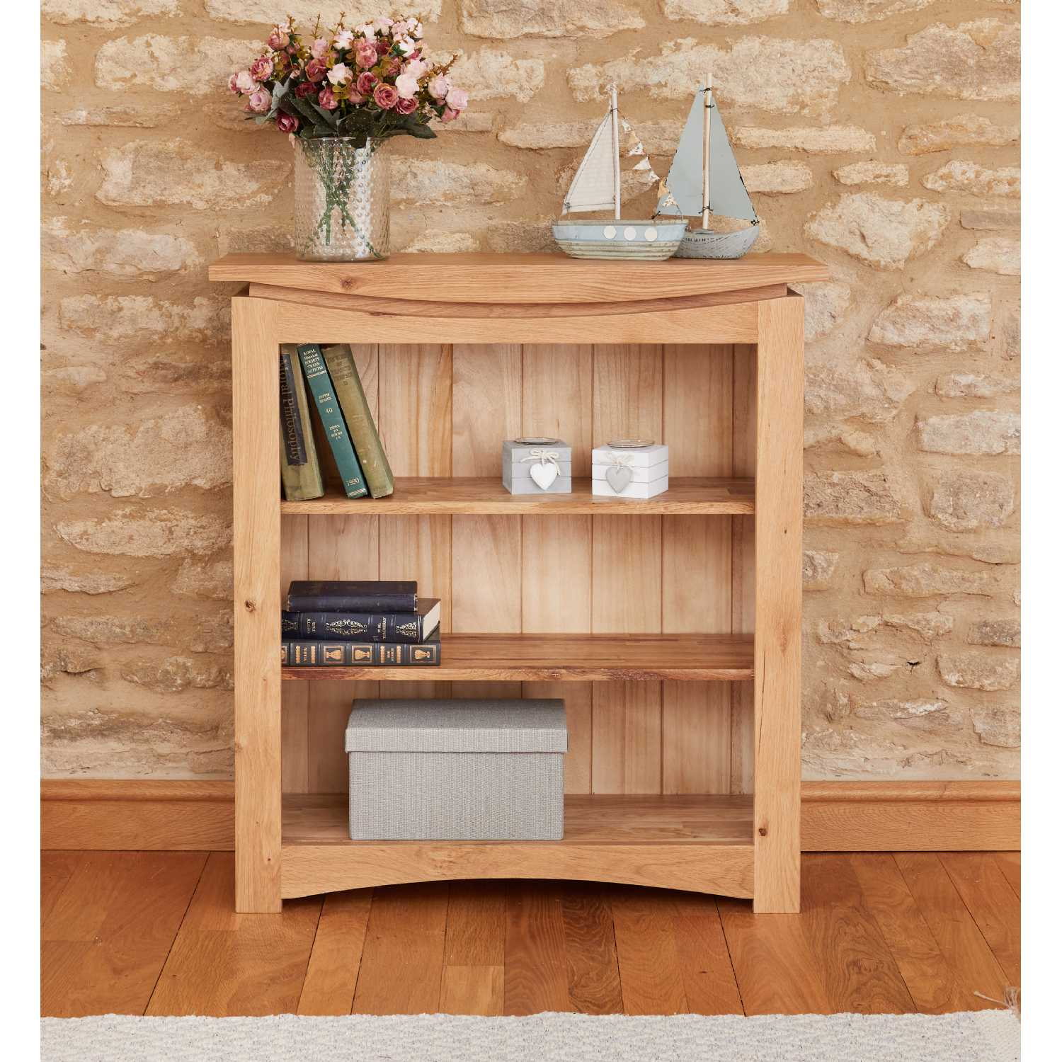 Modern Light Solid Oak Small Low Bookcase Shelf Display Shelf Unit