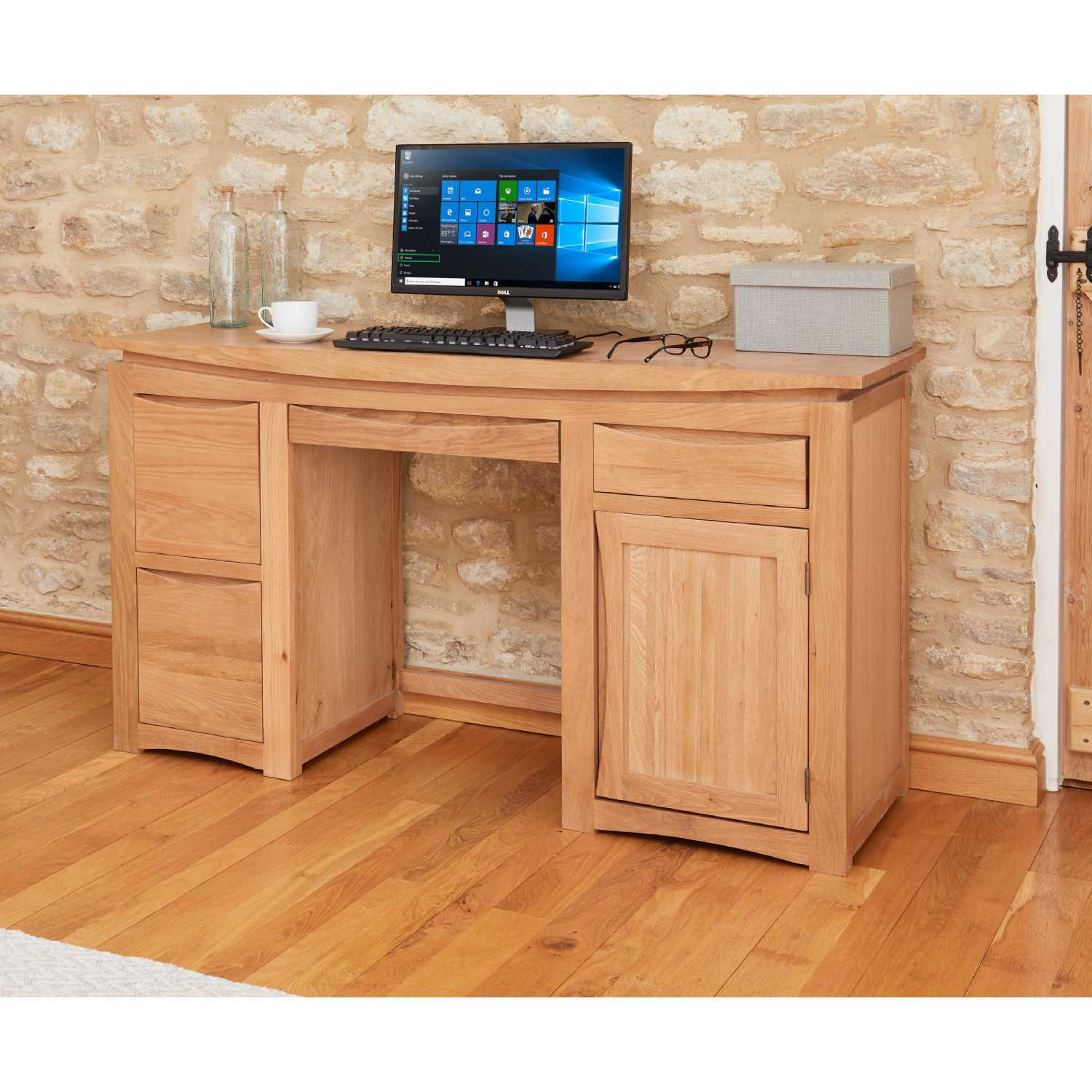 Image of: Modern Light Solid Oak Home Office Computer Study Desk With Keyboard Tray 2 Filing Drawers And Cupboard