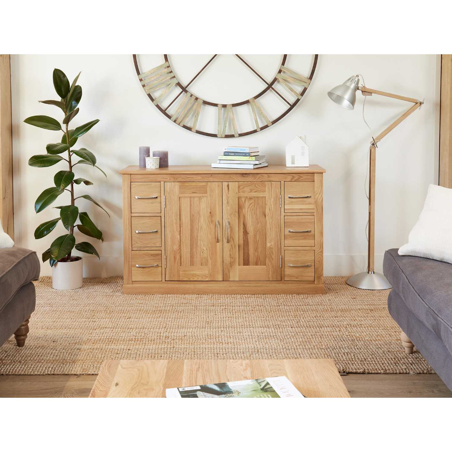 Solid Light Oak Large 6 Drawer Sideboard with 2 Centre Storage Cupboards