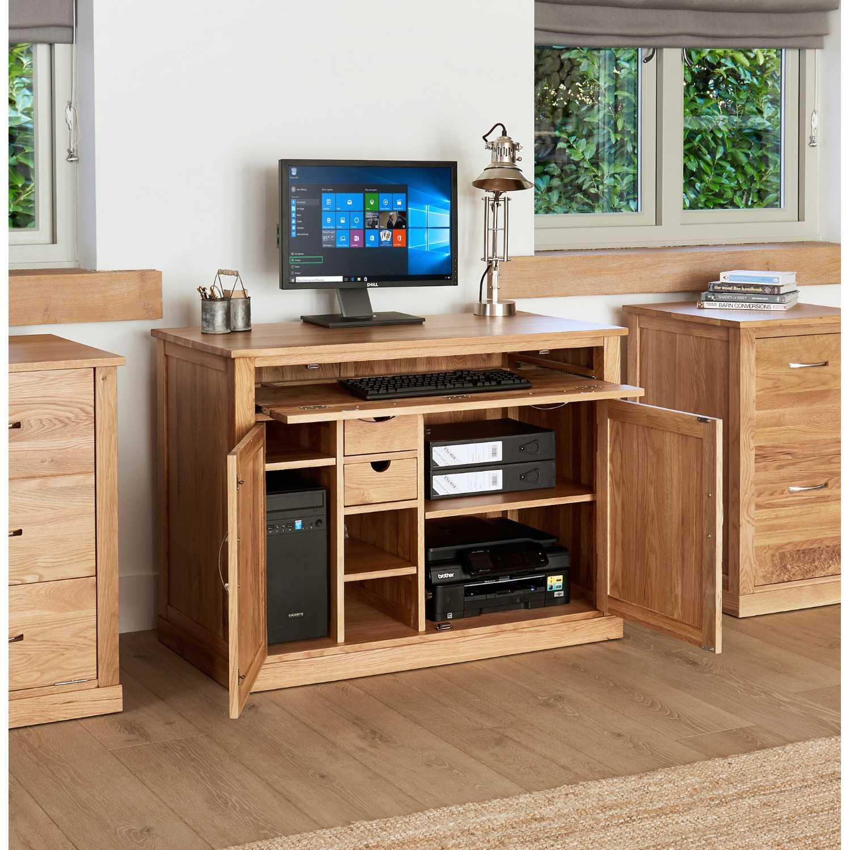 Solid Light Oak Hidden Home Office Computer Desk Storage