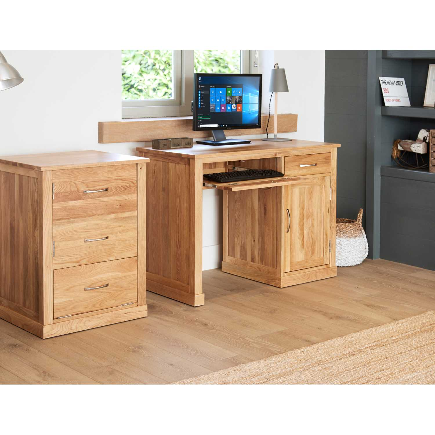 Solid Light Oak Single Pedestal Computer Desk With Keyboard Tray Cupboard and Drawer